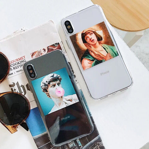 Vintage Statue David illustration Phone Case For iphone 6 Funny Oil Painting Women Clear Cases For iphone