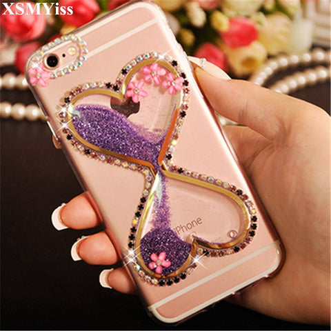 Woman Hourglass 3D Bling Glitter Diamond Flower Quicksand Phone Case Cover For Samsung GalaxyA3 A5 A7 J3 J5 J7 2016 2017 Version