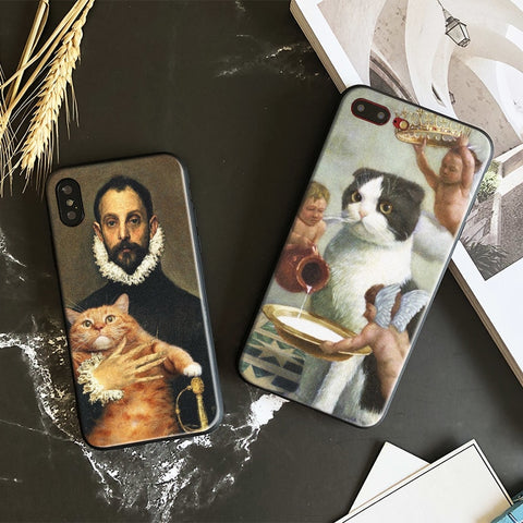 Funny Pat Cat Art Aesthetics Painting Soft Silicone Phone Case Cover Shell For Apple iphone