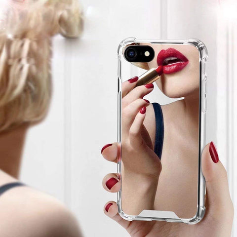 Anti-Shock Mirror Phone Case for iPhone 7 8 6 6s Plus X XR XS Max 7Plus 8Plus Luxury TPU Reflect Girly Silicone Cases Woman