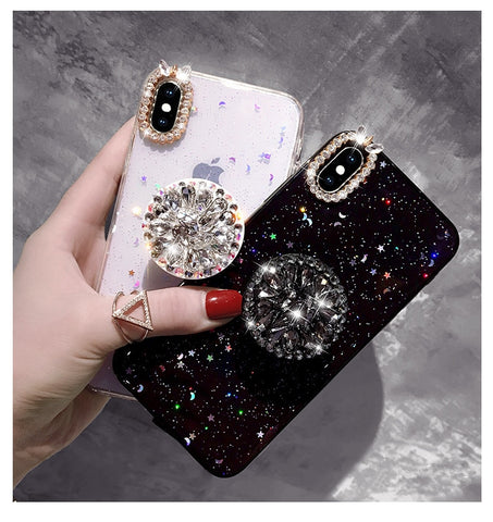 Bling Diamond Airbag Bracket Epoxy Stars And Moon Soft Case Cover For iphone X XS MAX XR 6 6S PLUS 7 8 PLUS Case