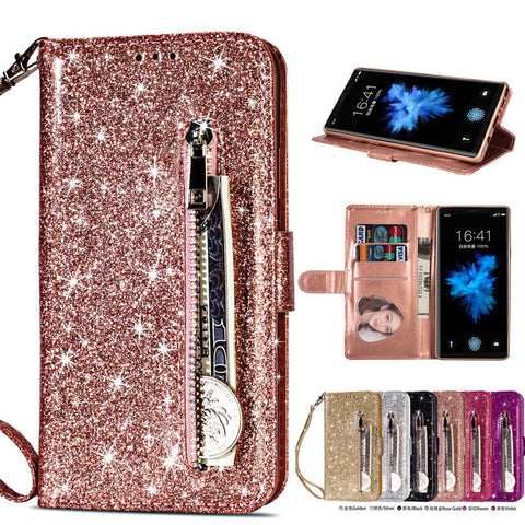 Phone Case for Samsung Galaxy S6 S7 S8 S9 Plus Edge Note 8 9 With IMD Glitter PU Leather Zipper bag Flip Wallet