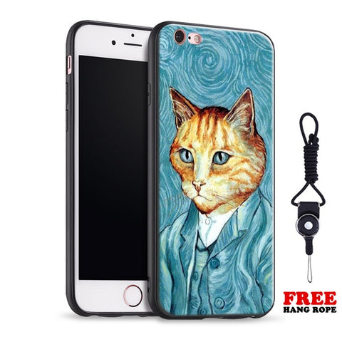 Van Gogh Funny Pattern Painting Abstract Soft Silicone Phone Case Cover Shell For Apple iPhone 5 5s Se 6 6s 7 8 Plus X XR XS MAX
