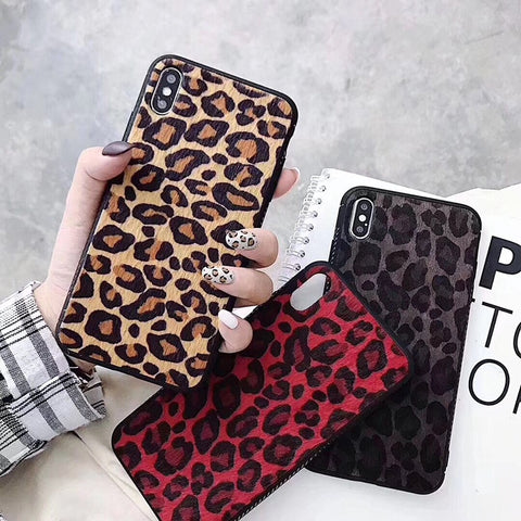 Women Fashion Luxury Red Leopard Fabric Furry Shockproof Phone Cases for iPhone 6 6s 7 8 Plus X XR XS Max Cover