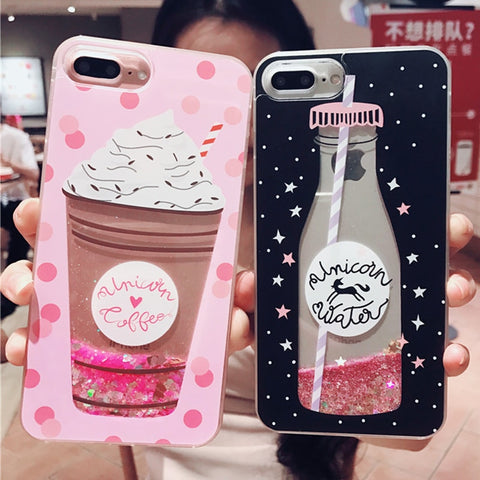 Quicksand Phone Case For Samsung S6 S7Edge S8 S9 Plus Note8 Vintage Beverage Bottle Ice Cream Soft Cases