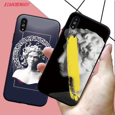 Soft Silicone For iPhone X Case Medusa Vaporwave Glitch Art Phone Cover For Iphone 5S SE 6 6s 7 8 Plus XS R MAX