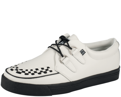 TUK White Leather 2-Ring Creeper Sneaker