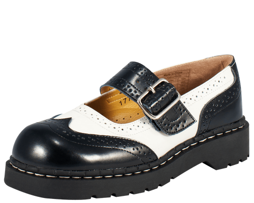 TUK Black and White Brogue Mary Jane