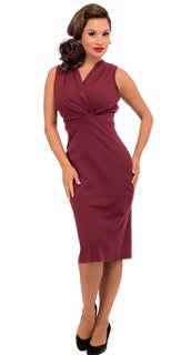 Carla Criss-Cross Wiggle Dress - Burgundy