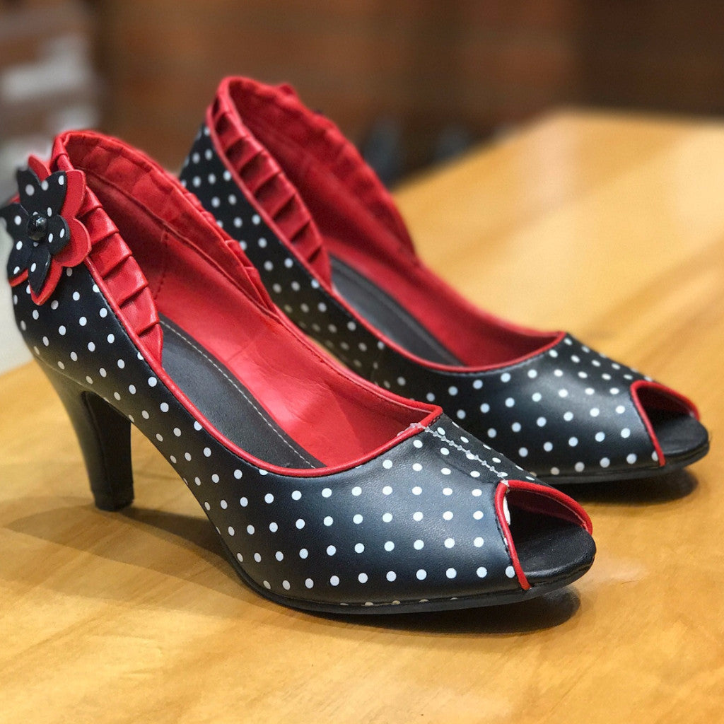 TUK Black and White Polka Dot Ruffle Anti-Pop Heel