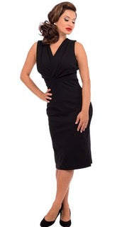 Carla Criss-Cross Wiggle Dress - Black