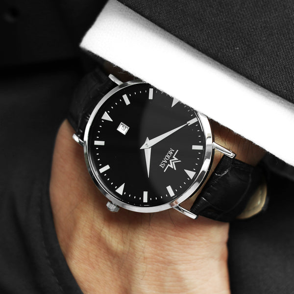 Black and silver men's leather ultra-thin watch