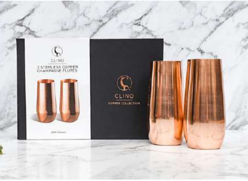 COPPER STEMLESS CHAMPAGNE FLUTES