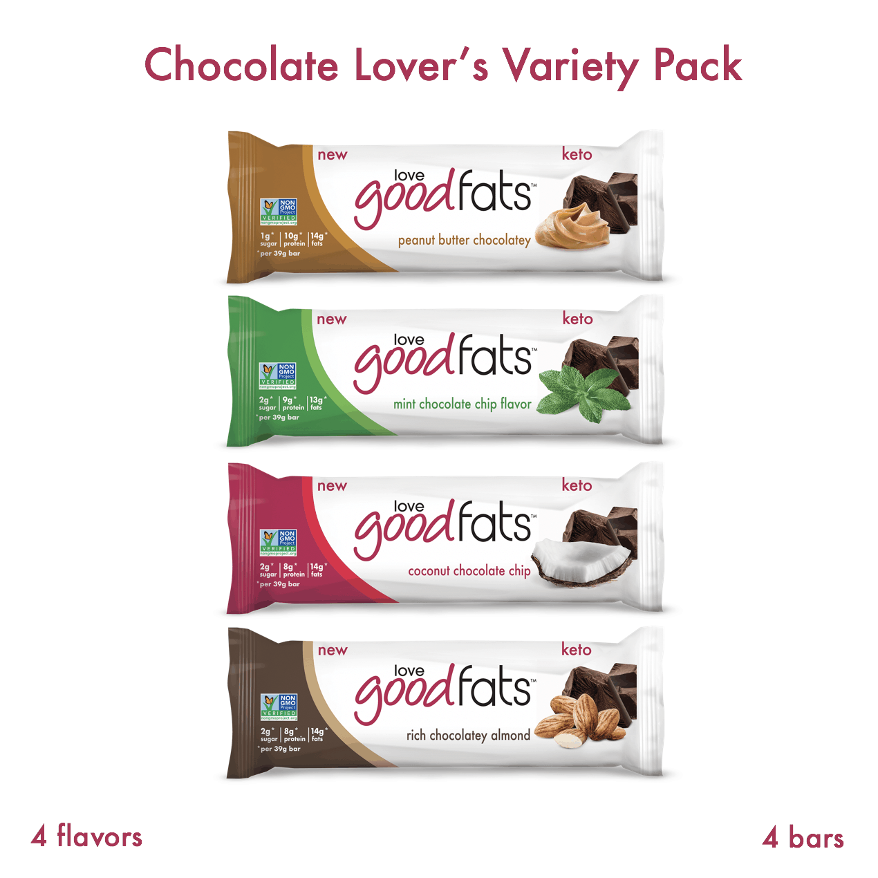 Chocolate Lover's Trial Pack (core 4 bars)