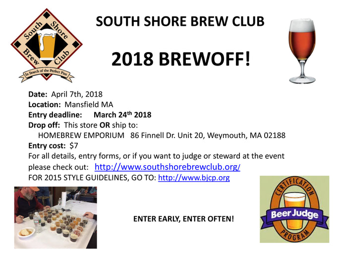 South Shore Brew Club 2018 Brewoff Home Brew Competition