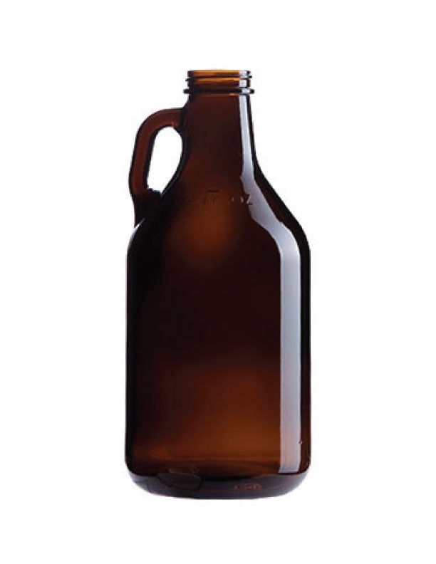 32 oz Amber Growler 38mm Screw Top - 12/Case