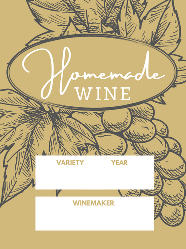 Homemade Wine Label - Grape Cluster