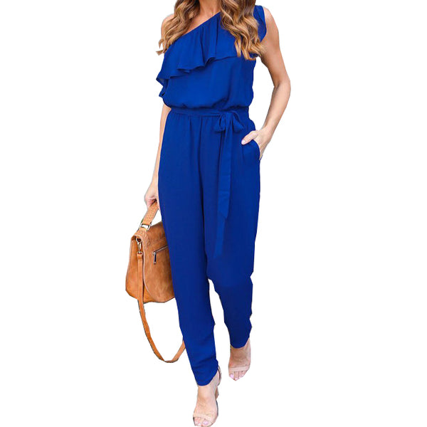 Sexy Casual One Shoulder Long Playsuits Jumpsuit Plus Size - RomeX NewYork