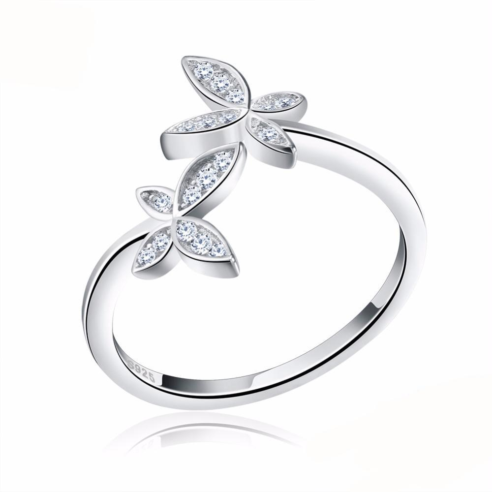 Fashion Silver 925 Adjustable Rings Flower Design