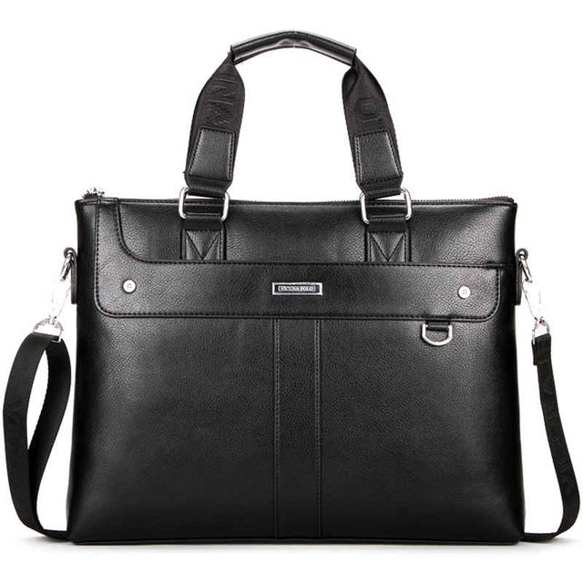 Classic Business Man Leather Briefcase. Computer Laptop Shoulder Bag