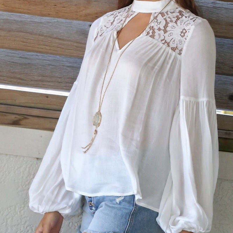 Spring Autumn Lace Up Sexy Women Blouse Plus Size - RomeX NewYork