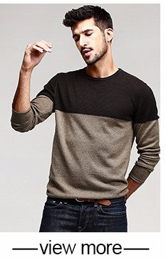 Autumn Mens Patchwork Khaki Knitted Slim Pullovers - RomeX NewYork