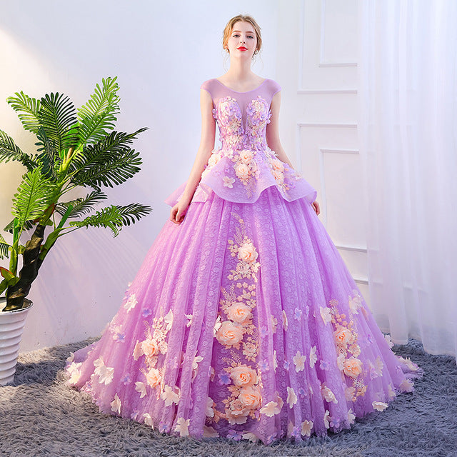 Fashion High-end Luxury Colorful Prom Dress Purple Flower Applique Lon
