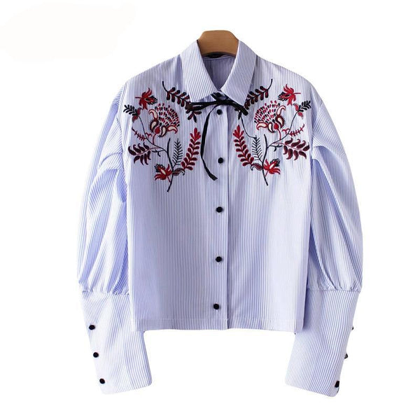 2018 Fashion Floral Embroidery Womens Tops