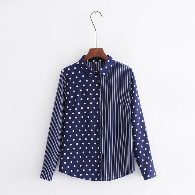 2018 New Polka Dot And Striped Patchwork Blouse