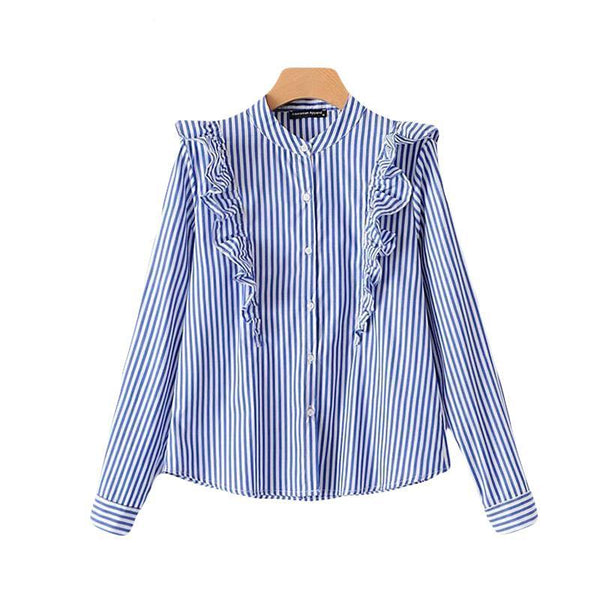 2018 Spring O Neck Retro Blue And White Striped Blouses