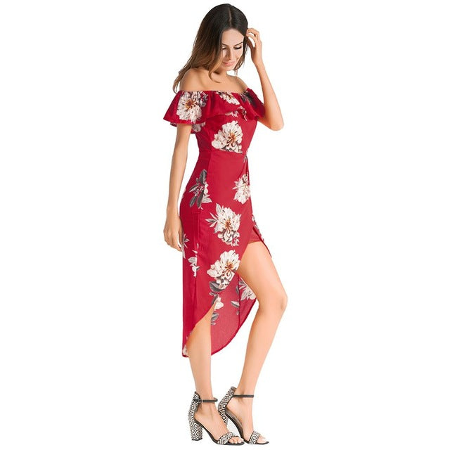 2018 Slash Neck Off Shoulder Backless Sexy Floral Printed Ruffles Beach Dresses
