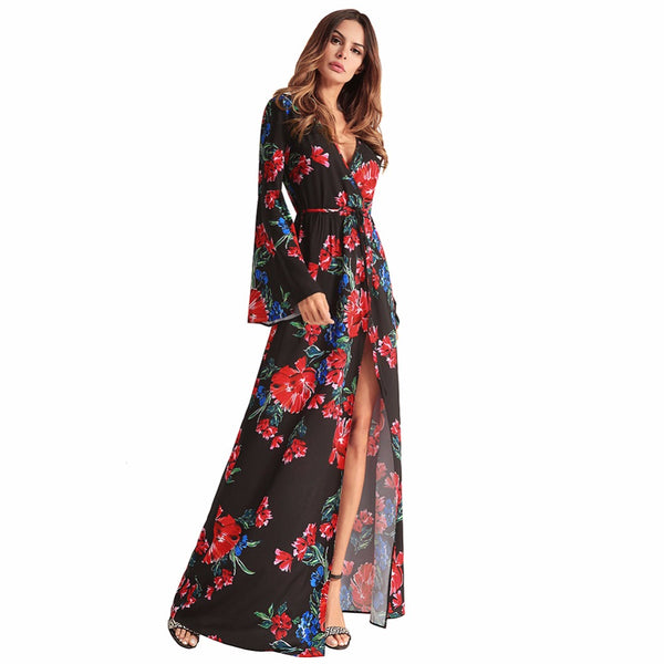 2018 Deep V Neck Vintage Flower Printed Summer Dress