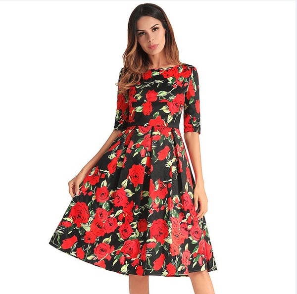 2018 New O Neck Half Sleeve Backless Floral Printed Sexy Dress