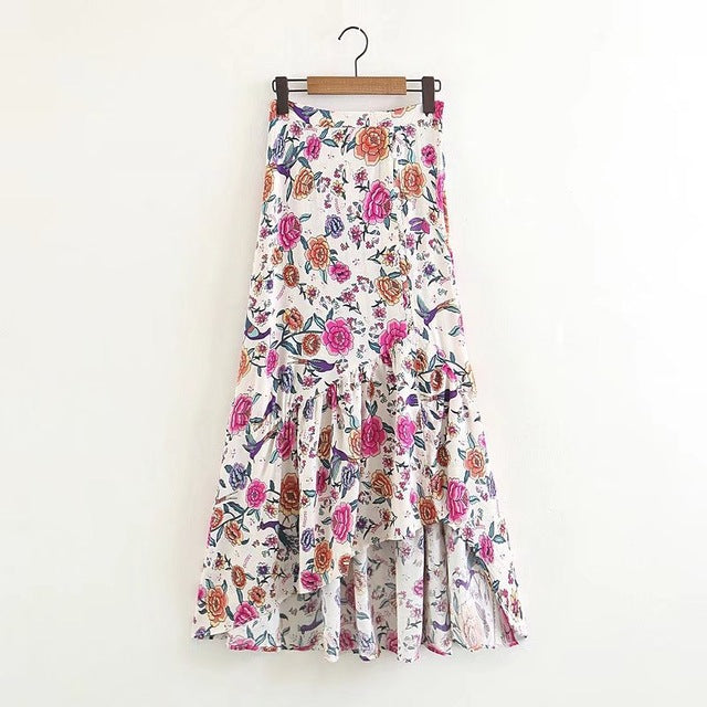 2018 New Spring Summer Floral Printed Ruffles Skirt