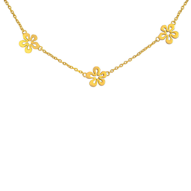 Tri-Dainty Small Flower Necklace