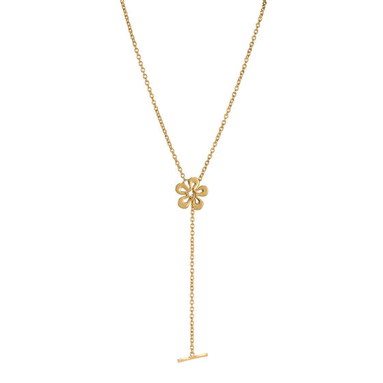 Long Single Flower with Bar Necklace