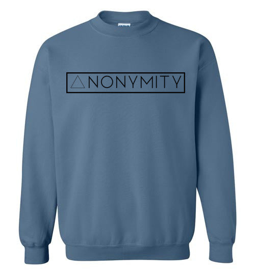 Anonymity Black Text Crewneck