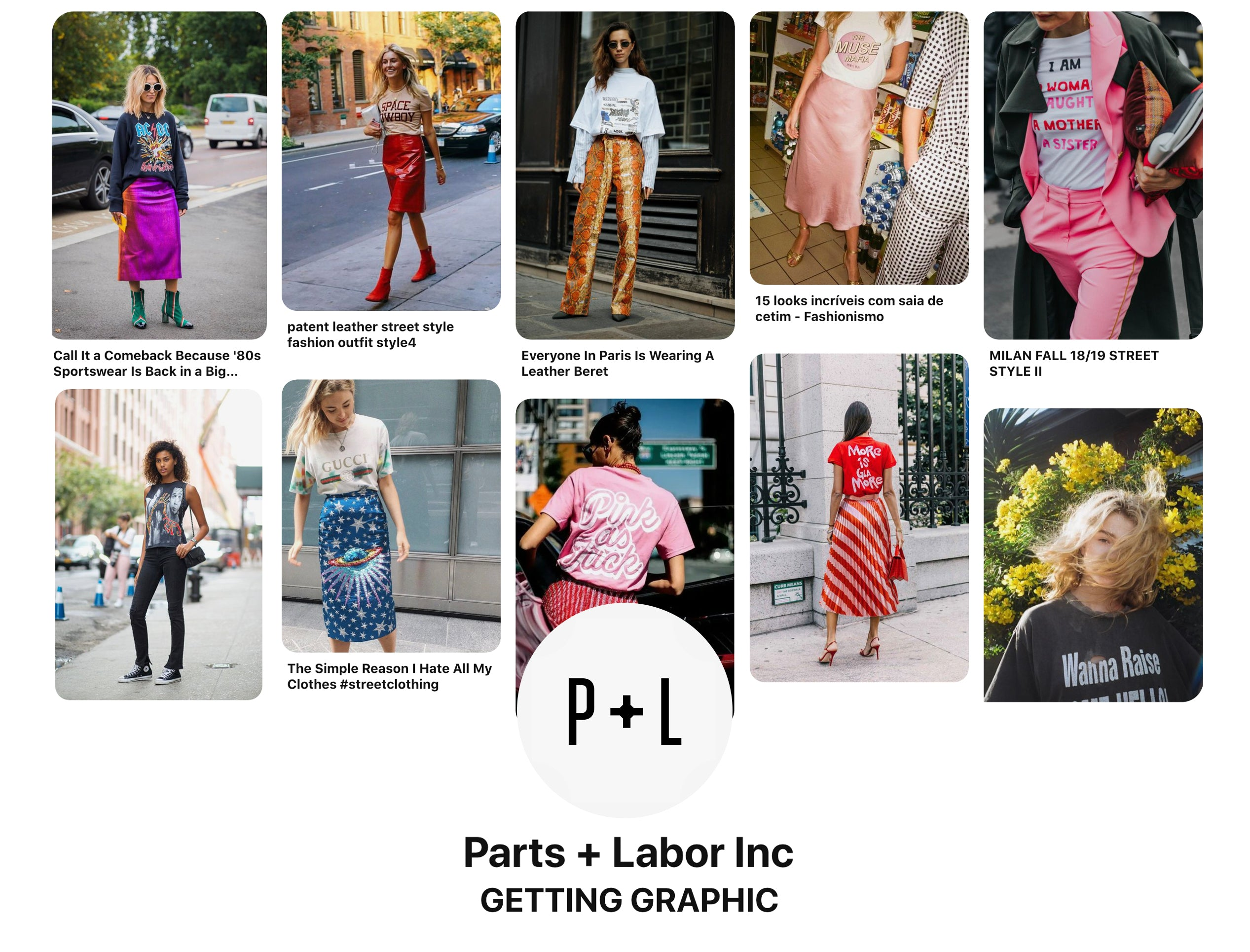 Follow Parts + Labor Inc on Pinterest - link to our graphic t shirt inspiration board