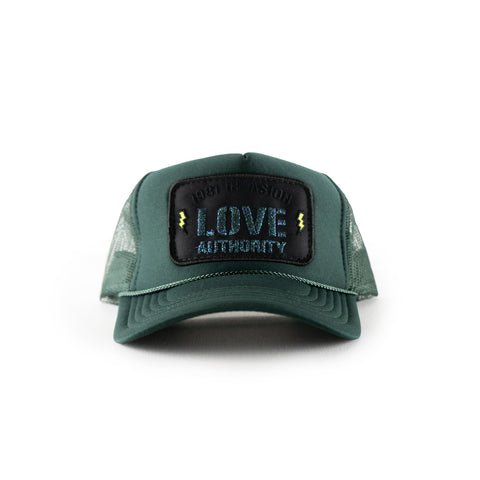 the LOVE AUTHORITY mesh trucker