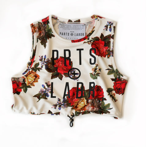 floral - TO THE [TOP] CROP TANK