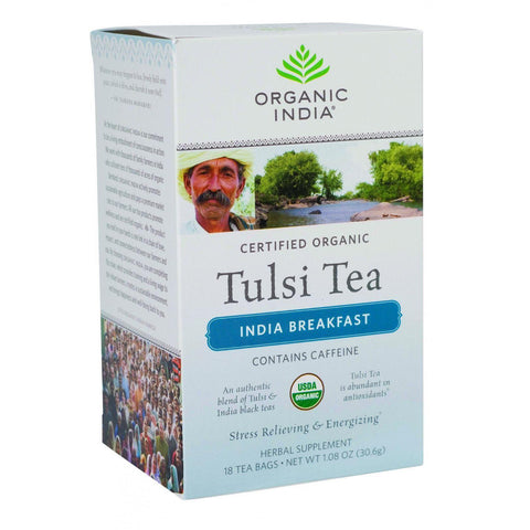 Organic India Organic Tulsi Tea - India Breakfast - 18 Tea Bags - Case Of 7