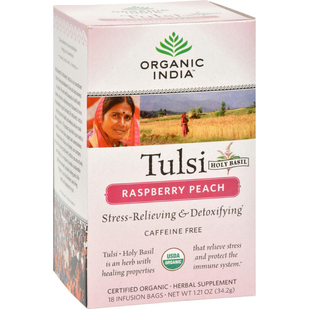 Organic India Tulsi Tea Raspberry Peach - 18 Tea Bags - Case Of 6