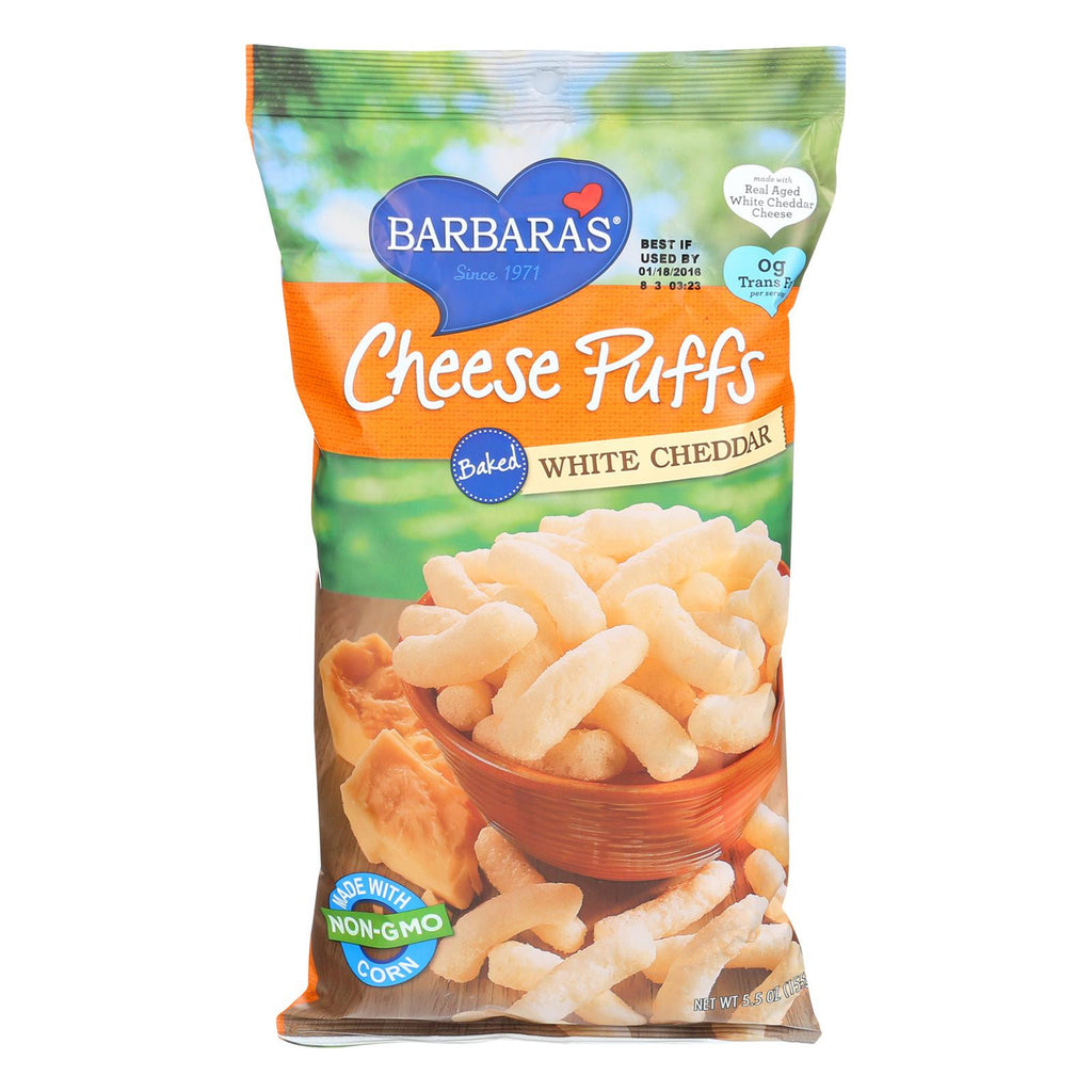 Barbara's Bakery Baked White Cheddar Cheese Puffs - Case Of 12 - 5.5 Oz.