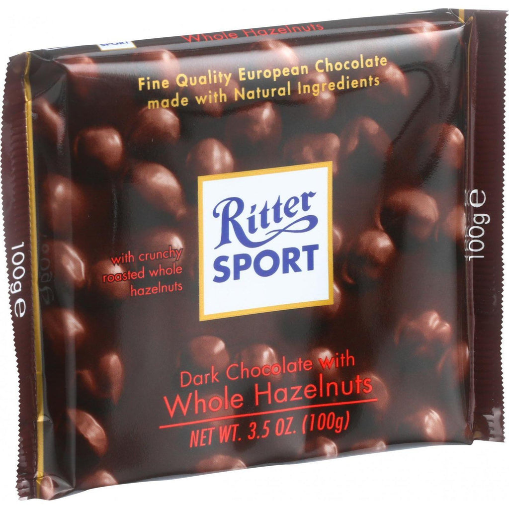 Ritter Sport Chocolate Bar - Dark Chocolate - Whole Hazelnuts - 3.5 Oz Bars - Case Of 10