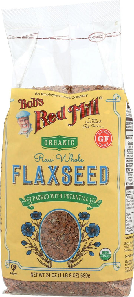 Bob's Red Mill Organic Raw Whole Brown Flaxseeds - 24 Oz - Case Of 4