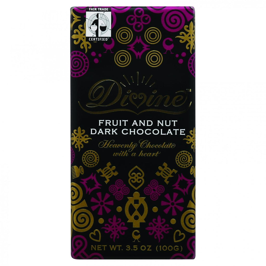 Divine Chocolate Bar - Dark Chocolate - Fruit And Nut - 3.5 Oz Bars - Case Of 10