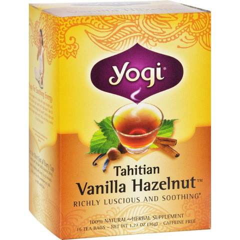 Yogi 100% Natural Herbal Tea Caffeine Free Vanilla Hazelnut - 16 Tea Bags - Case Of 6