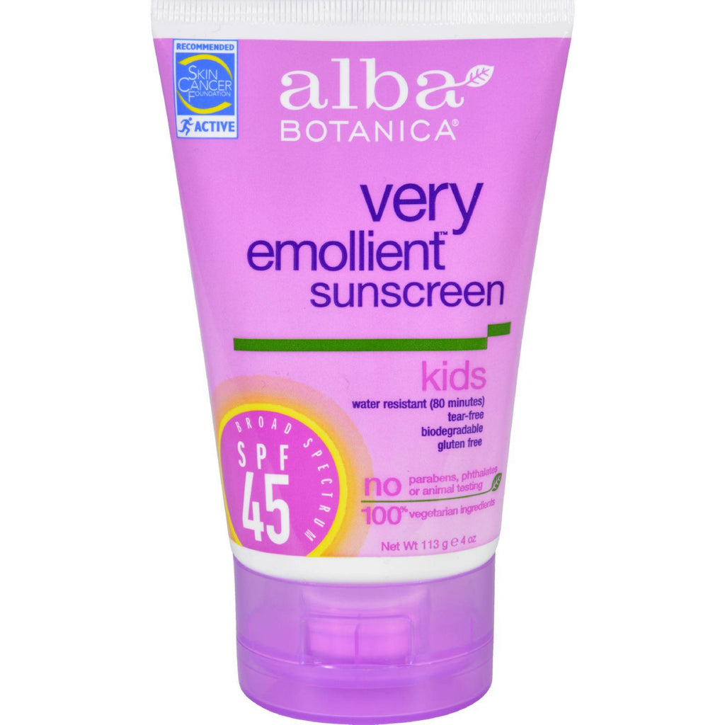 Alba Botanica Natural Very Emollient Sunscreen For Kids - Spf 45 - 4 Oz