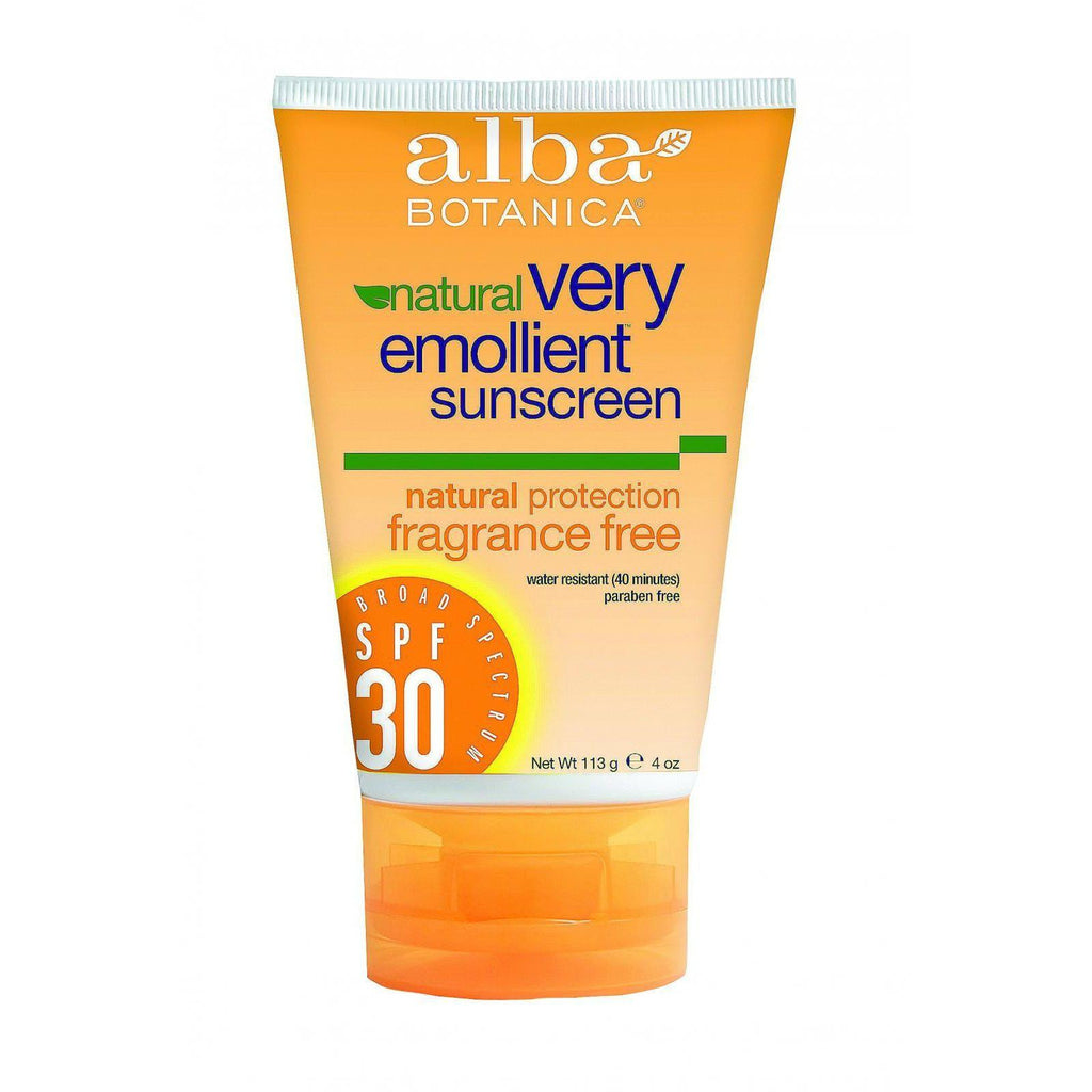 Alba Botanica Natural Sunblock - Very Emollient - Natural Spf 30 - Fragrance Free - 4 Oz