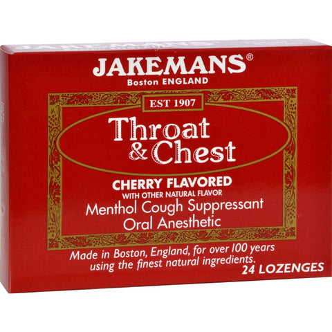Jakemans Throat And Chest Lozenges - Cherry - Case Of 24 - 24 Pack
